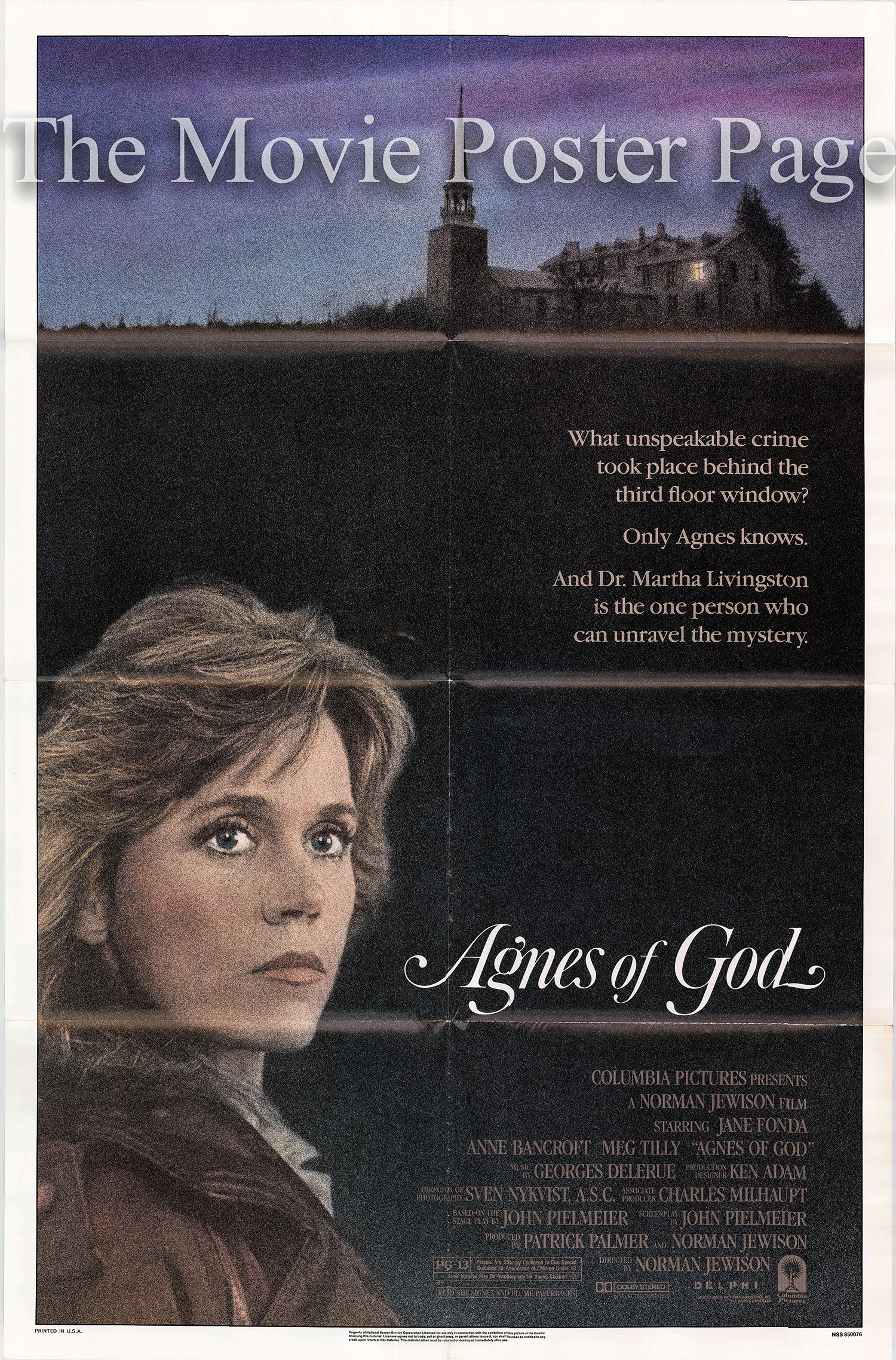 Pictured is a US promotional poster for the 1985 Norman Jewison film Agnes of God starring Jane Fonda.