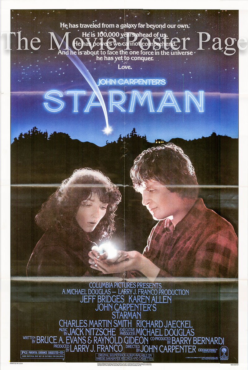 Pictured is a US one-sheet for the 1984 John Carpenter film Starman starring Jeff Bridges.