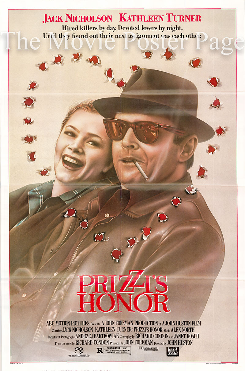 Pictured is a US one-sheet poster for the 1985 John Huston film Prizzi's Honor starring Jack Nicholson.