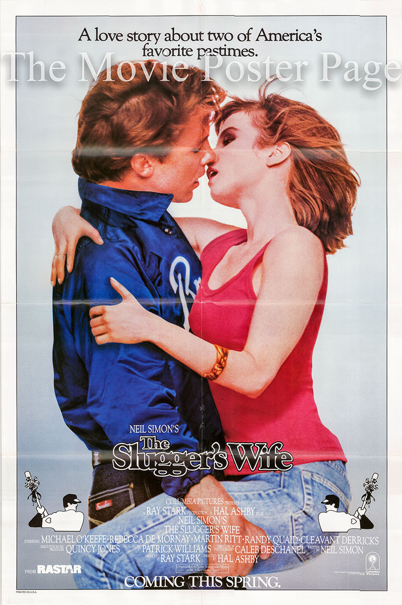 Pictured is a US one-sheet poster for the 1985 Hal Ashby film The Slugger's Wife starring Michael O'Keefe as Darryl Palmer.