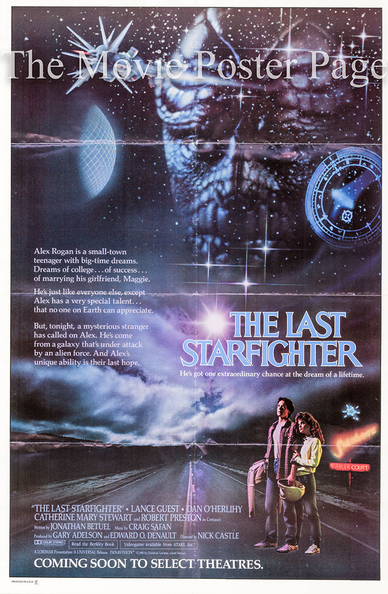 Pictured is a US one-sheet poster for the 1983 Nick Castle film The Last Starfighter starring Lance Guest.