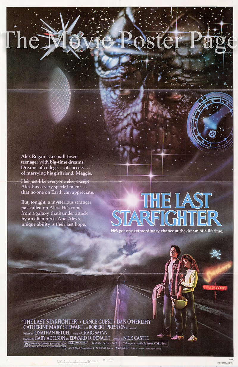 Pictured is a US one-sheet poster for the 1983 Nick Castle film The Last Starfighter.