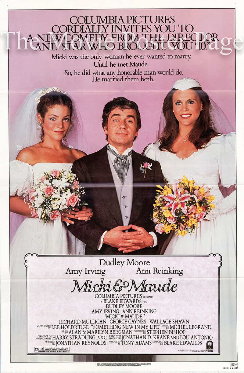 Pictured is a US one-sheet poster for the 1984 Blake Edwards film Micki and Maude starring Dudley Moore.
