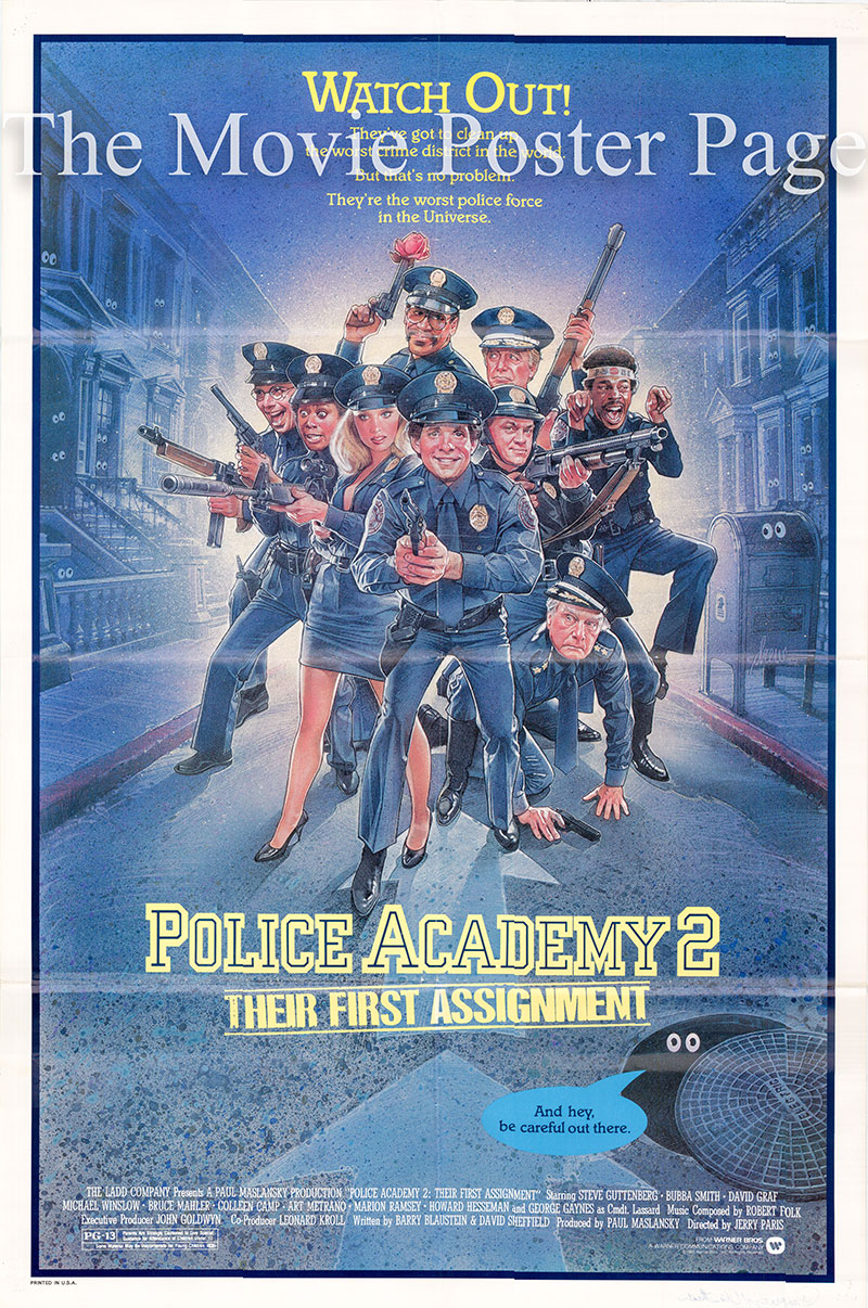 Pictured is a US one-sheet poster for the 1985 Jerry Paris film Police Academy 2 starring Steve Guttenberg.