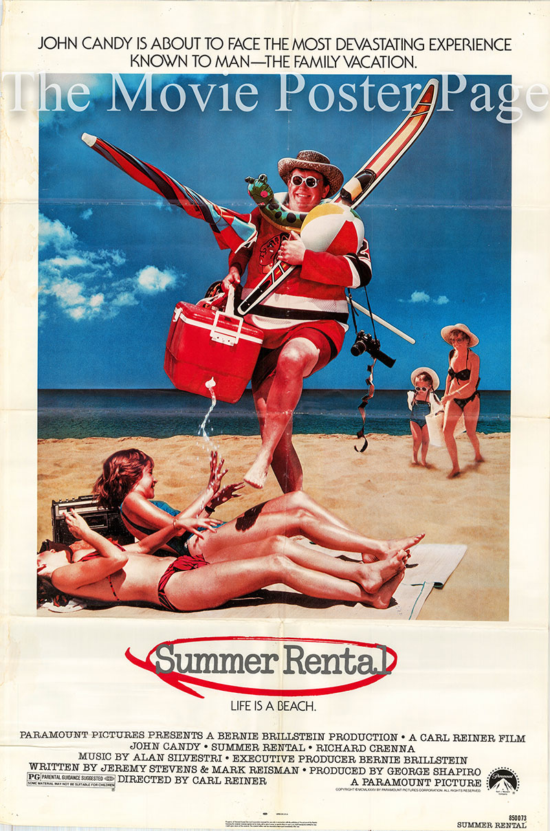 Pictured is a US one-sheet promotional poster for the 1985 Carl Reiner film Summer Rental starring John Candy.