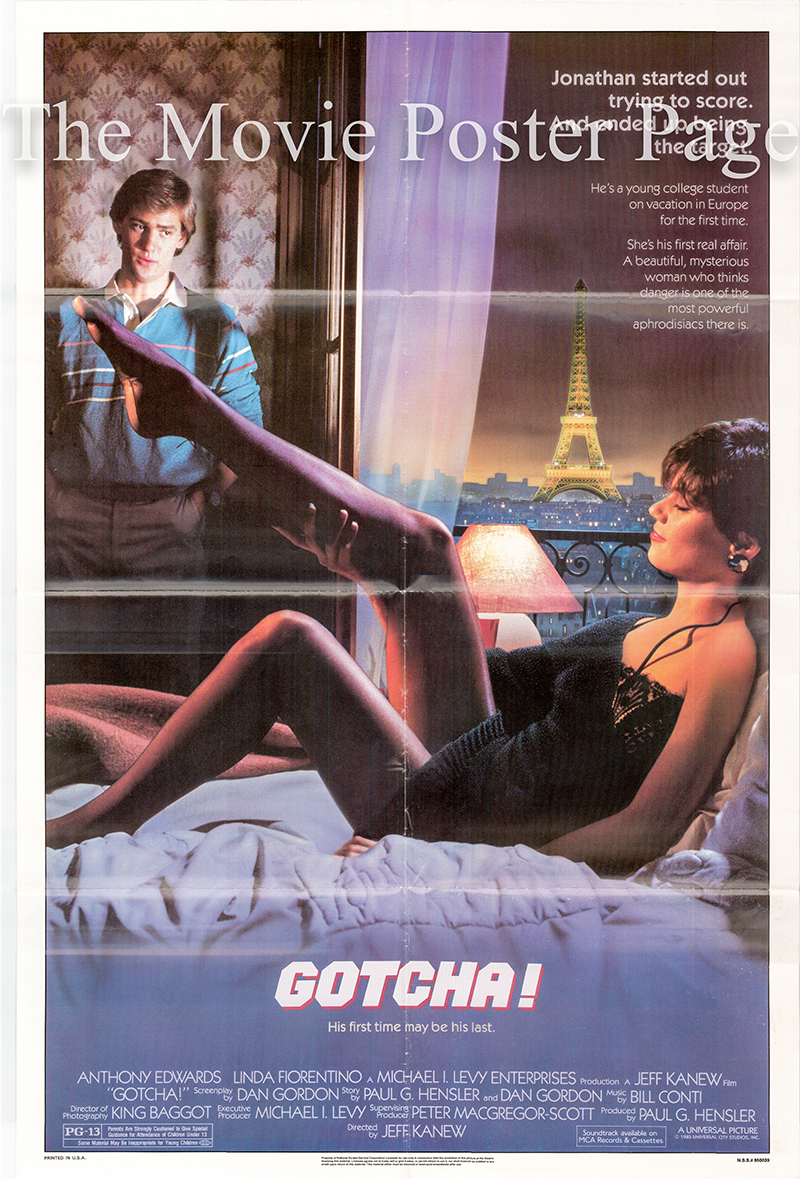 Pictured is a US one-sheet promotional poster for the 1985 Jeff Kanew Film Gotcha starring Linda Fiorentino.