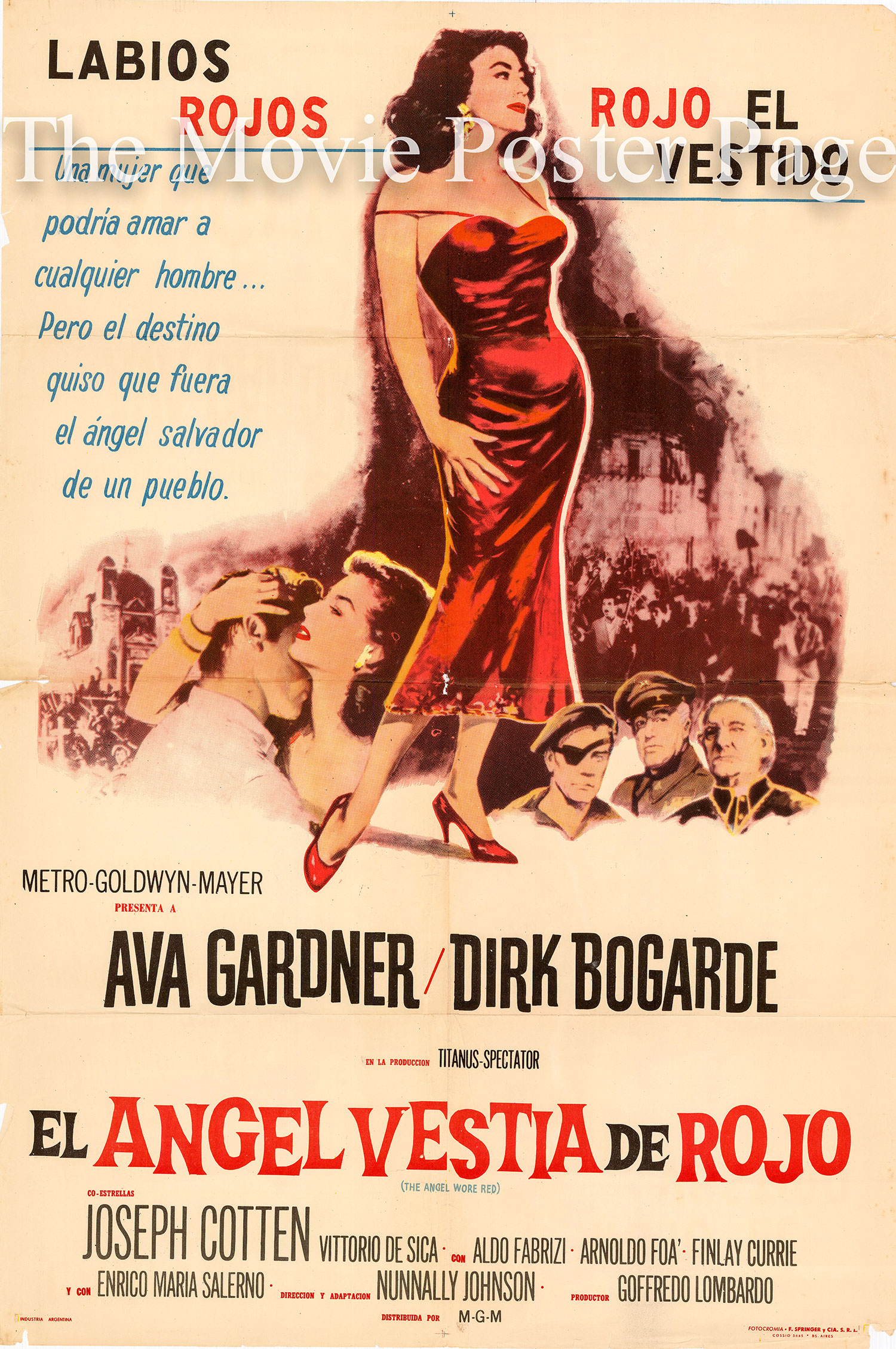 Pictured is an Argentine one-sheet poster for the 1960 Nunnally Johnson film The Angel Wore Red starring Ava Gardner.