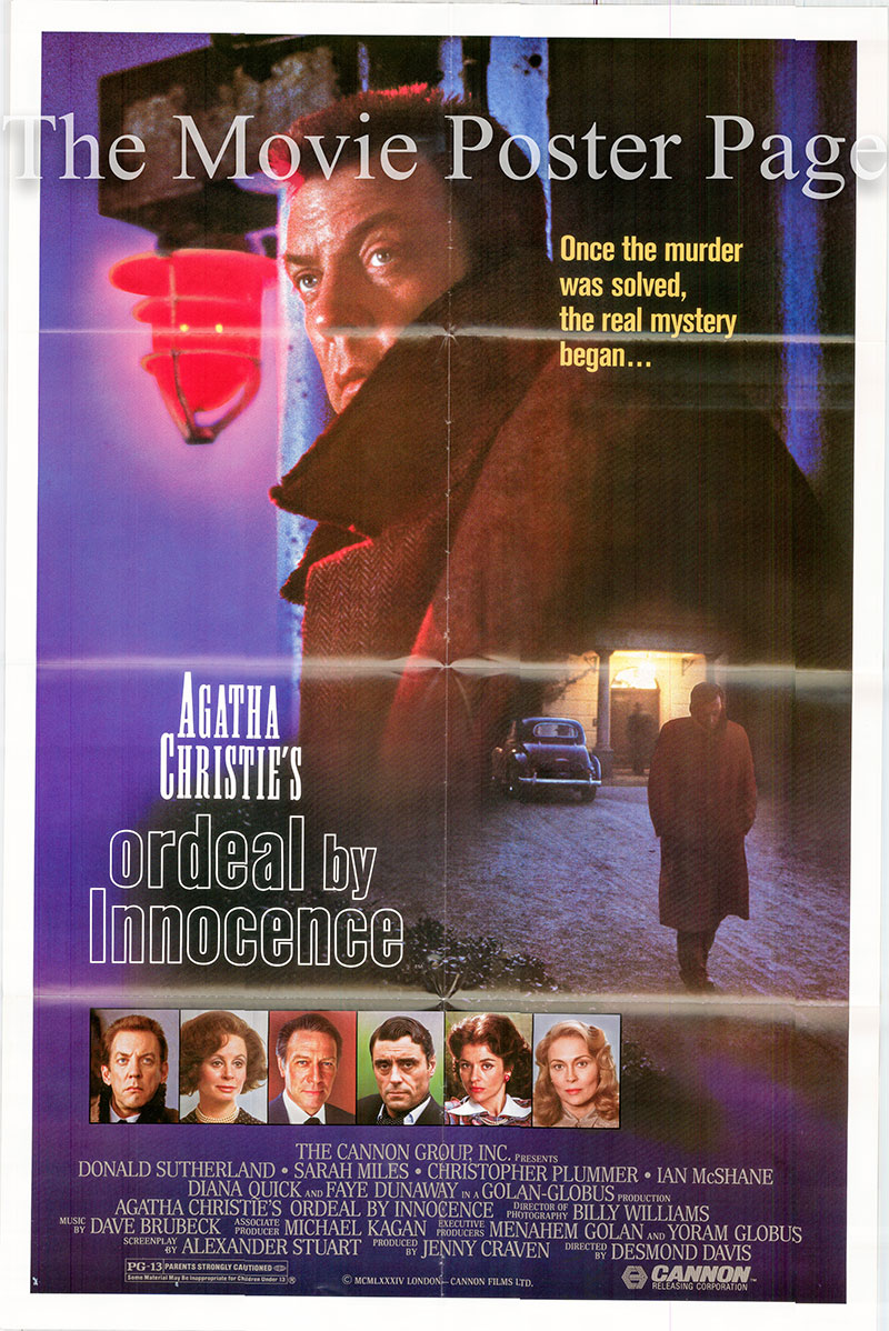 Pictured is a US one-sheet poster for the 1984 Desmond Davis film Ordeal by Innocence starring Donald Sutherland as Dr. Arthur Calgary.
