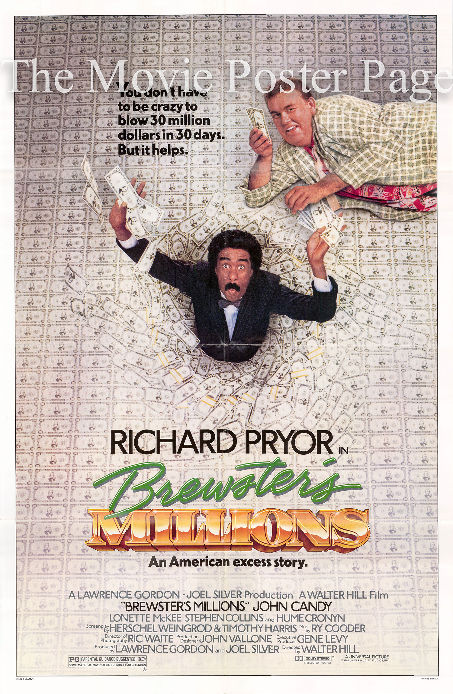 Pictured is a US one-sheet promotional poster for the 1985 Walter Hill film Brewster's Millions starring Richard Pryor and John Candy.