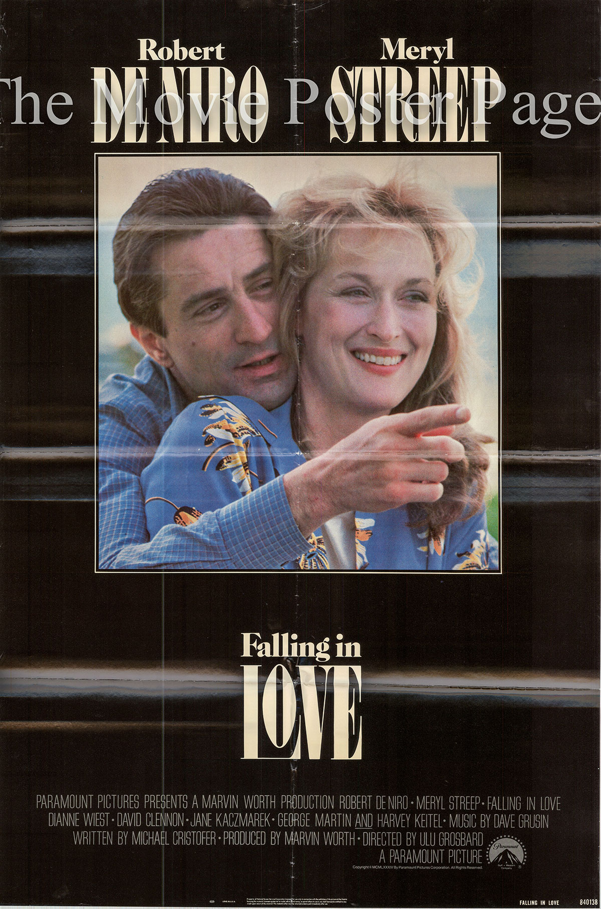 Pictured is a US one-sheet poster for the 1984 Ulu Grosbard film Falling in Love starring Robert De Niro.