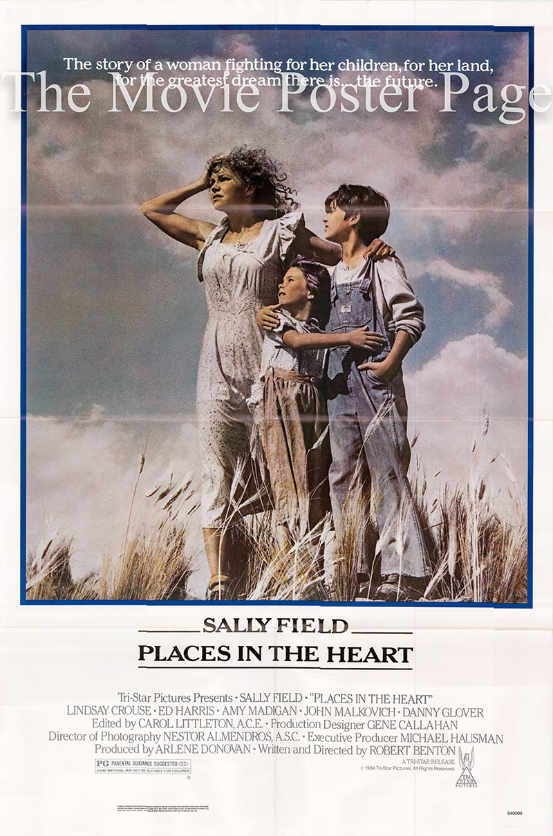 Pictured is a US one-sheet poster for the 1985 Robert Benton film Places in the Heart starring Sally Field.