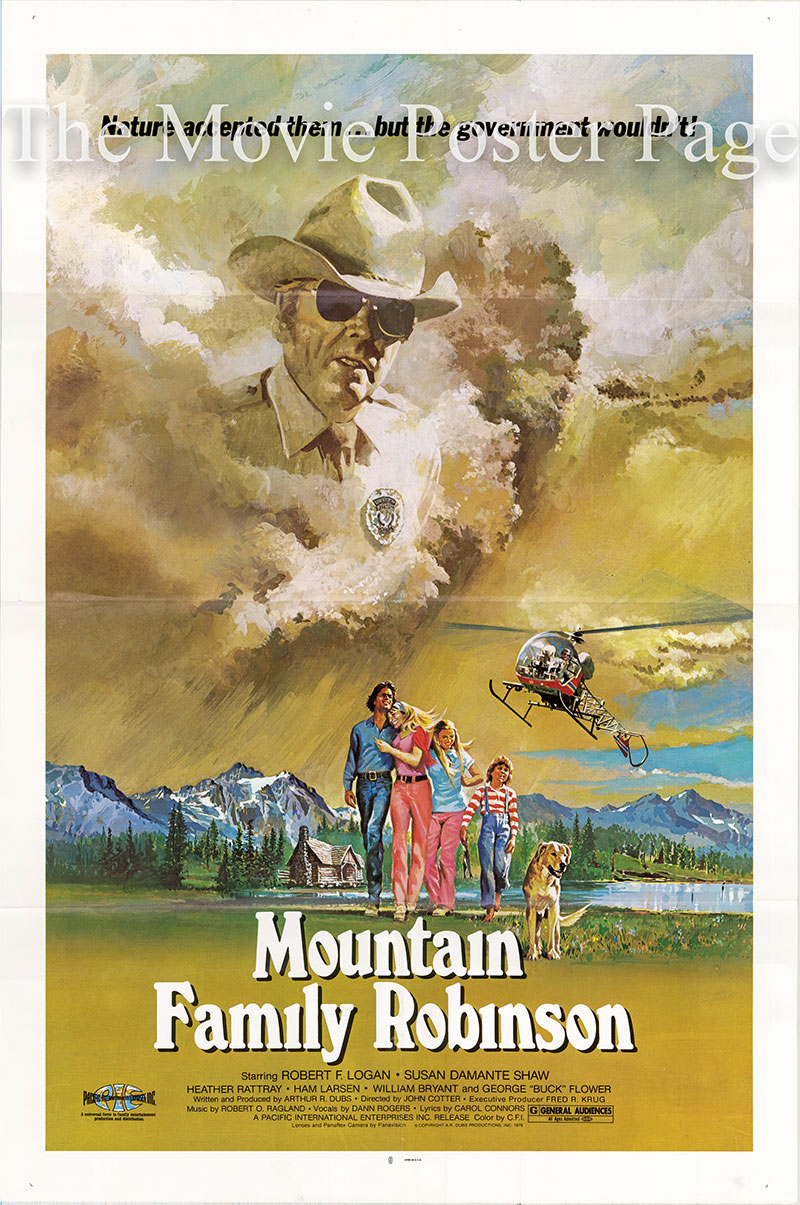 Pictured is a US one-sheet promotional poster for the 1979 John Cotter film Mountain Family Robinson, starring Robert F. Logan.