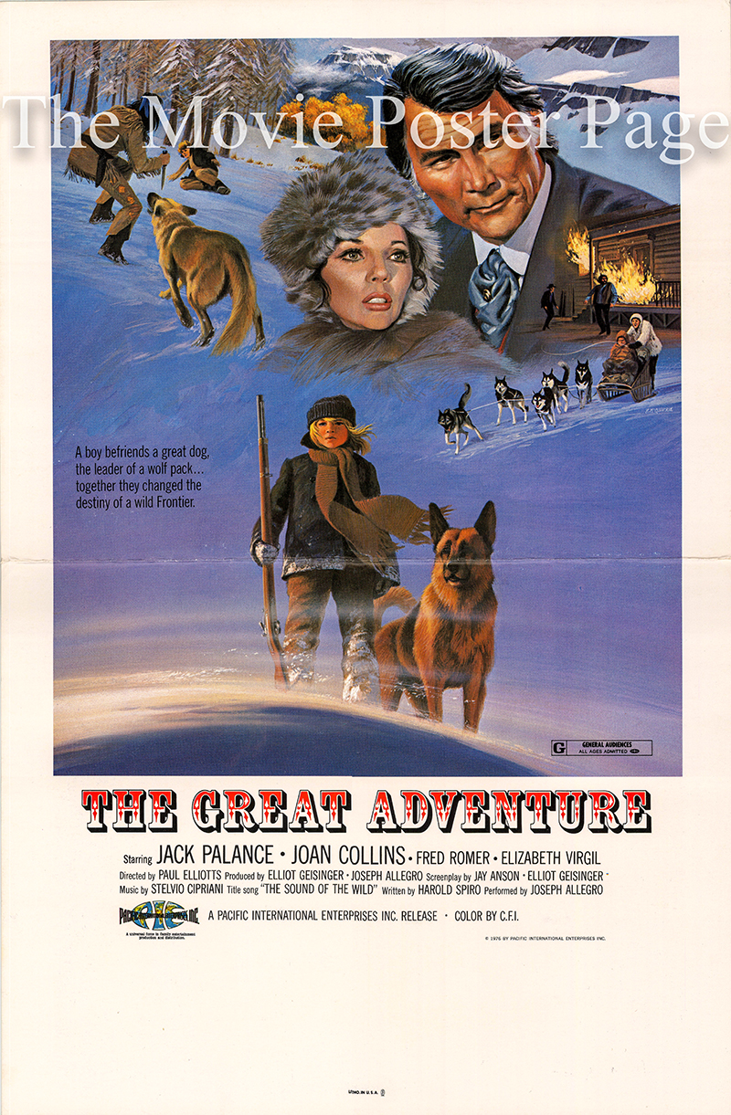 Pictured is a US window card for the 1975 Gianfranco Baldanello film The Great Adventure starring Jack Palance as William Bates.