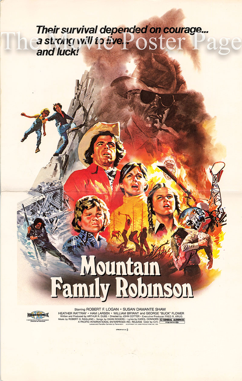 Pictured is a US window card for the 1979 John Cotter film Mountain Family Robinson starring Robert F. Logan.