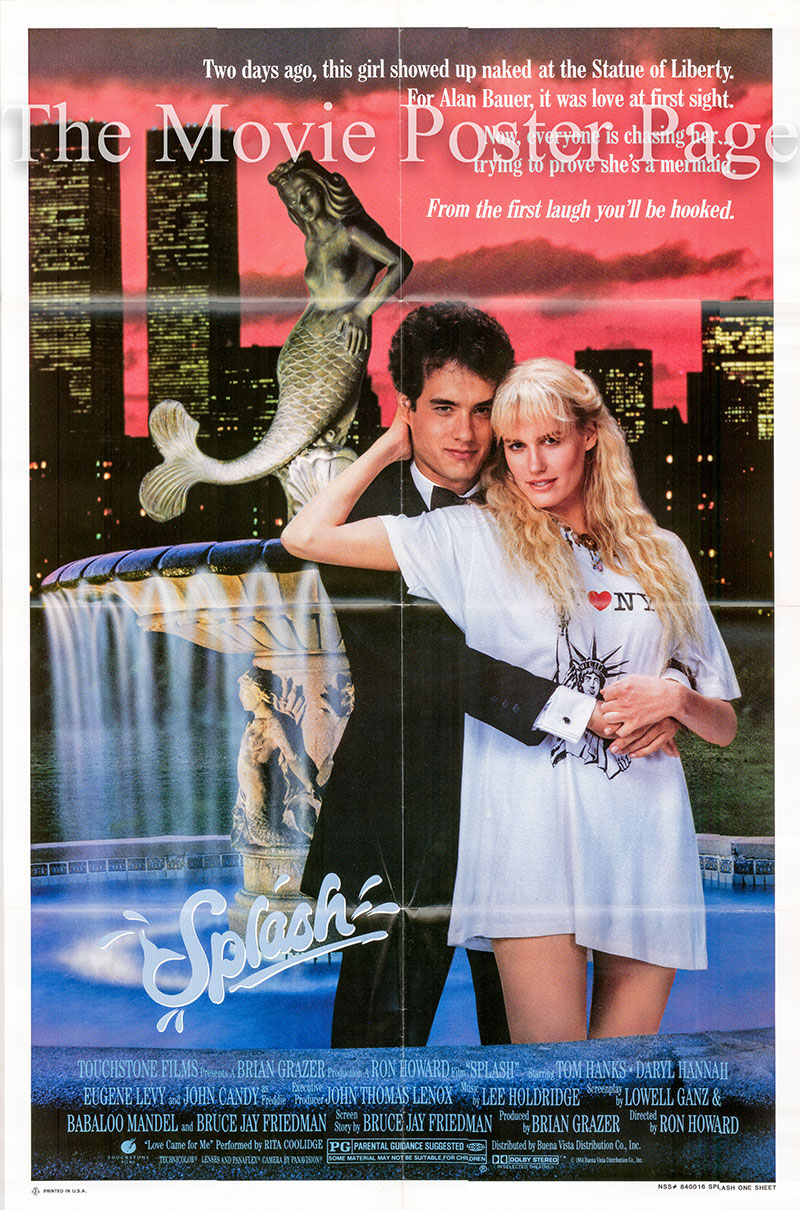 Pictured is a US one-sheet poster for the 1984 Ron Howard film Splash starring Tom Hanks as Allen Bauer.