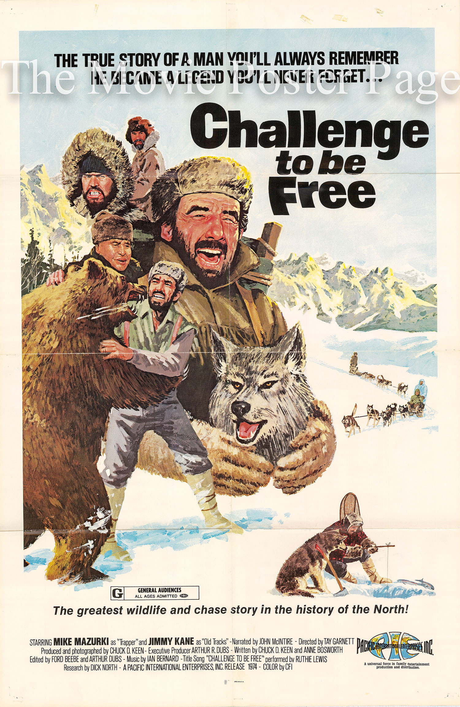 Pictured is a US one-sheet promotional poster for the 1974 Tay Garnett film Challenge to Be Free starring Mike Mazurki.