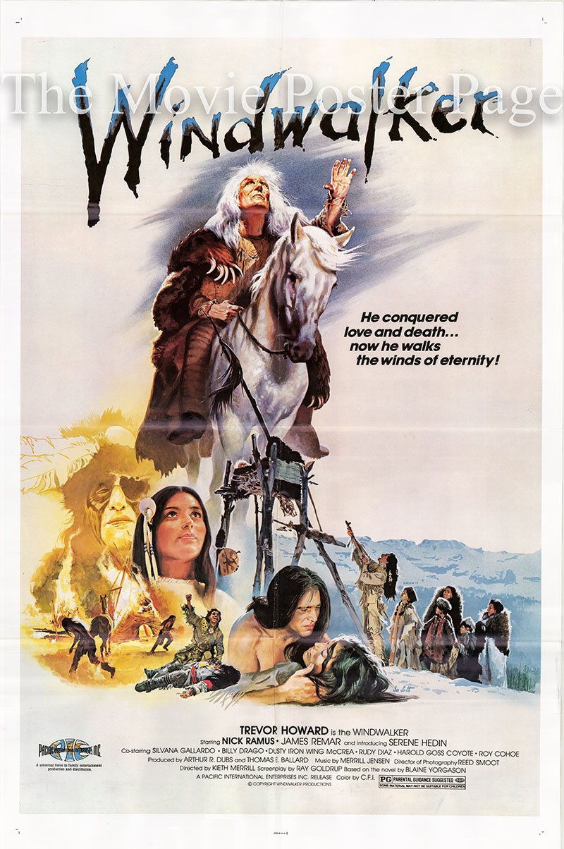 Pictured is a US promotional poster for the 1980 Kieth Merrill film Windwalker starring Trevor Howard as the Windwalker.