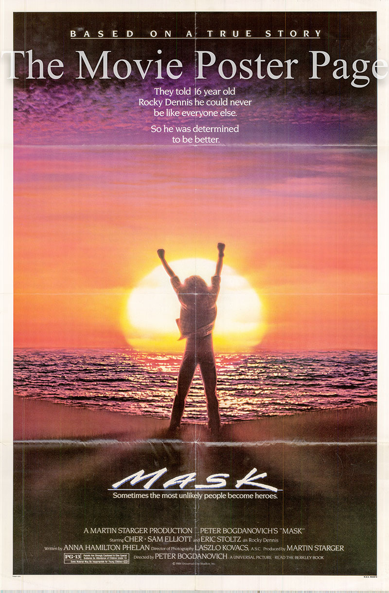 Pictured is a US one-sheet poster for the 1985 Peter Bogdanovich film Mask starring Cher.