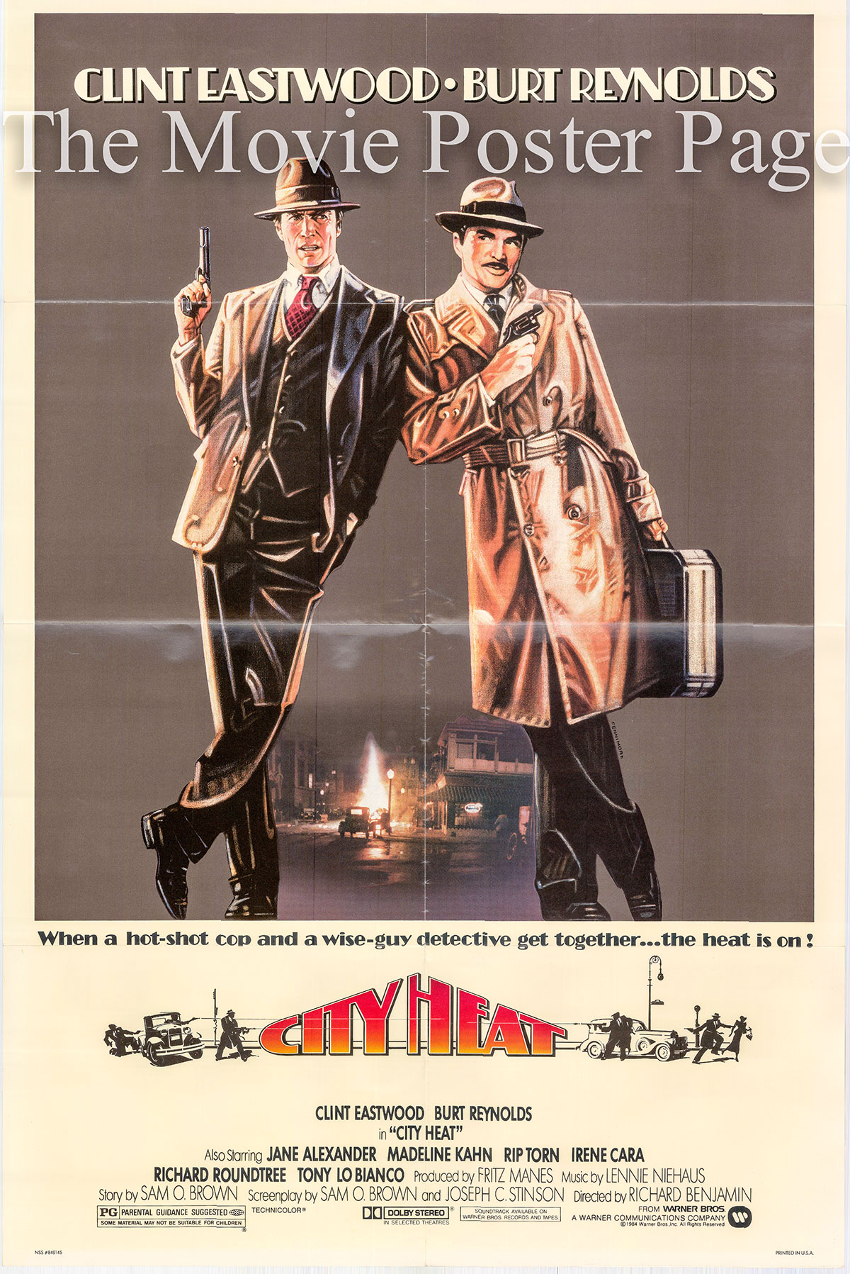 Pictured is a US one-sheet poster for the 1984 Richard Benjamin film City Heat starring Clint Eastwood.