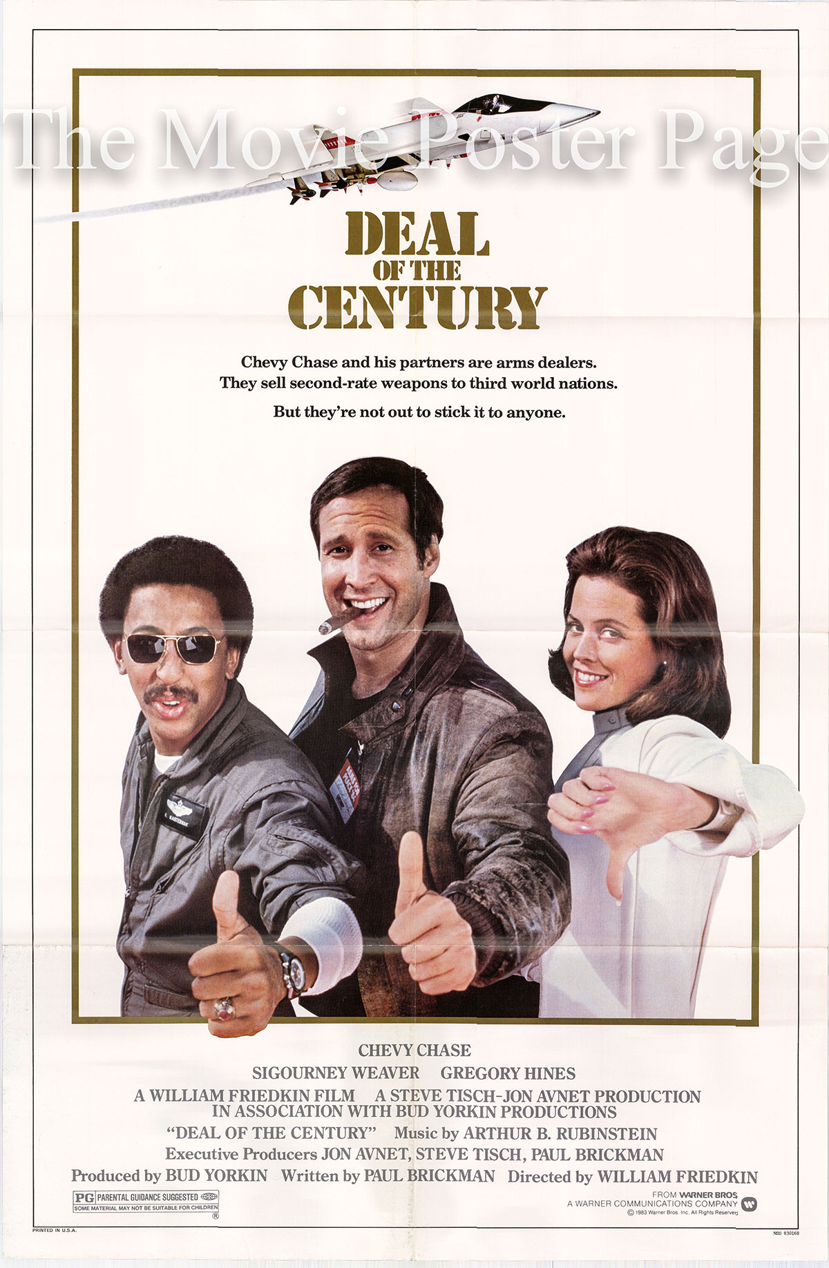Pictured is a US one-sheet poster for the 1983 William Friedkin film Deal of the Century starry Chevy Chase.