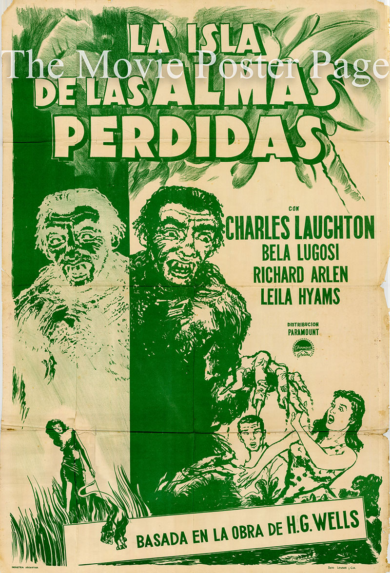 Pictured is an Argentine poster for a 1950s rerelease of the 1932 Erle C. Kenton film Island of Lost Souls starring Charles Laughton.