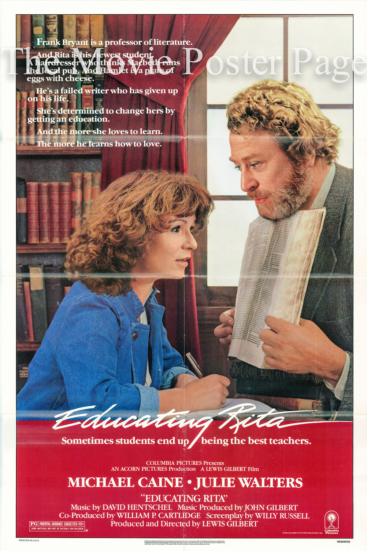 Pictured is a US one-sheet poster for the 1983 Lewis Gilbert film Educating Rita starring Michael Caine as Dr. Frank Bryant.