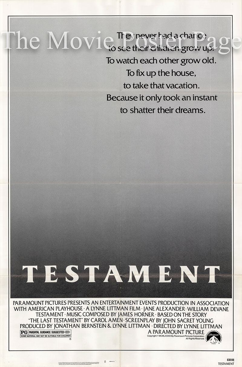Pictured is a US one-sheet poster for the 1983 Lynne Littman film Testament starring Jane Alexander as Carol Wetherly.