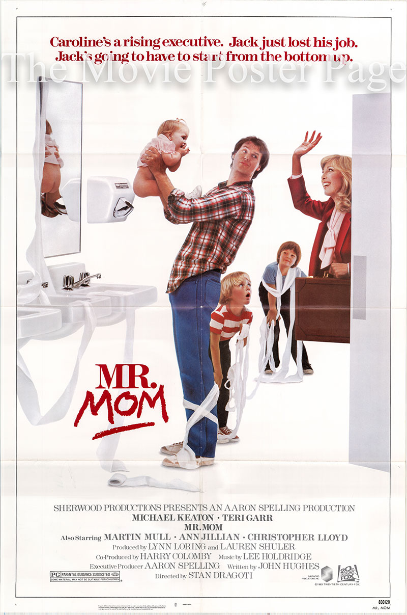 Pictured is a US one-sheet poster for the 1983 Stan Dragoti film Mr. Mom starring Michael Keaton.