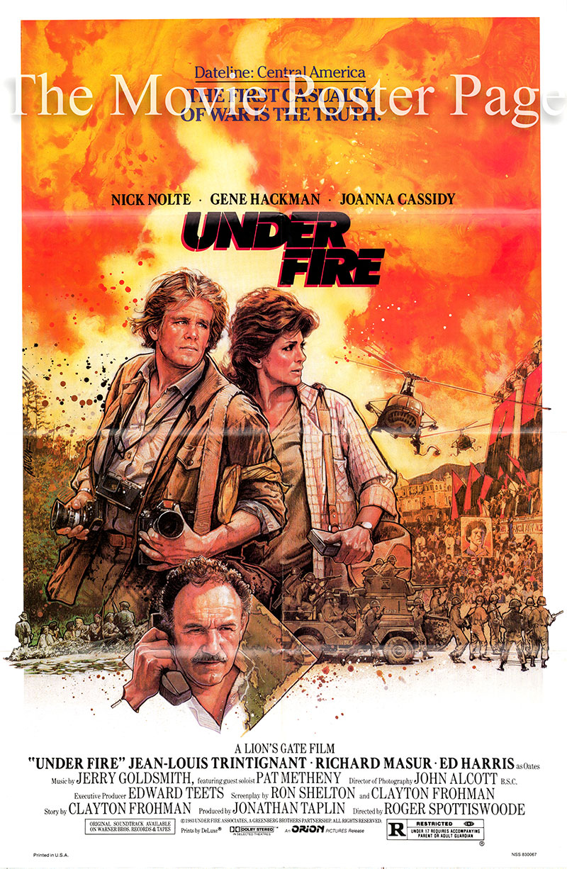 Pictured is a US one-sheet poster for the 1983 Roger Spottiswoode film Under Fire starring Nick Nolte as Russell Price.