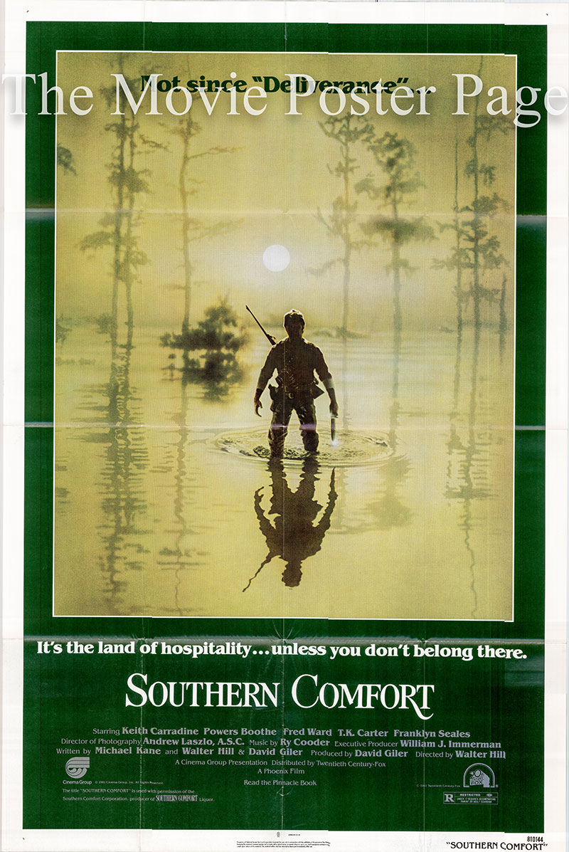 Pictured is a US promotional one-sheet poster for the 1981 Walter Hill film Southern Comfort, starring Keith Carradine.