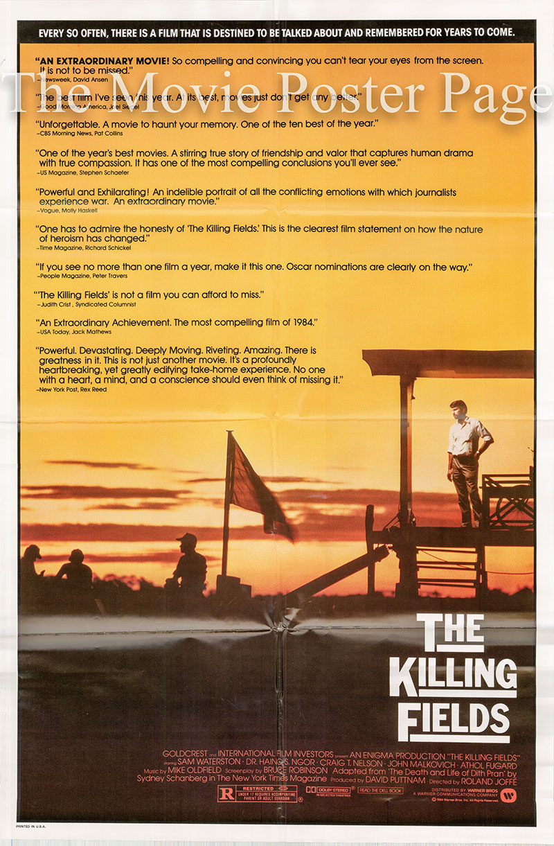 Pictured is a US one-sheet poster for the 1985 Roland Joffe film The Killing Fields starring Sam Waterson as Sydney Schanberg.