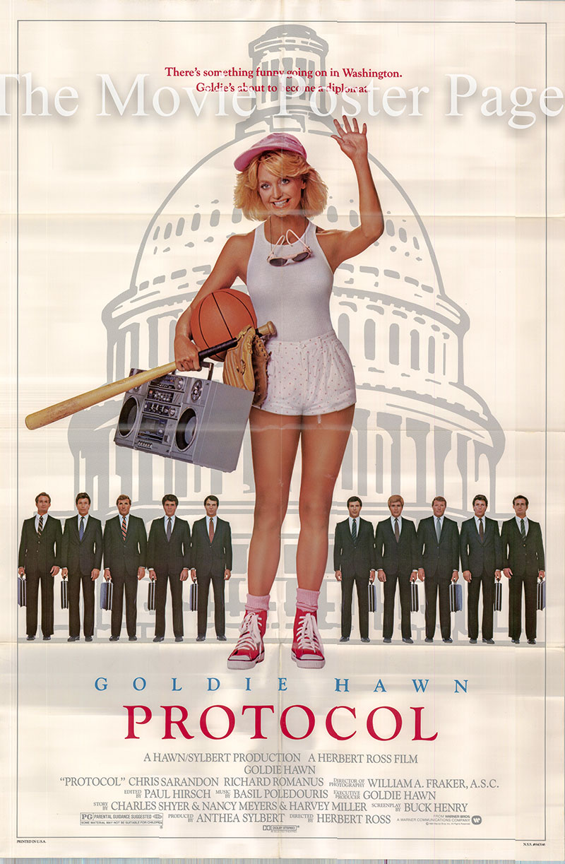 Pictured is a US one-sheet poster for the 1984 Herbert Ross film Protocol starring Goldie Hawn as Sunny.