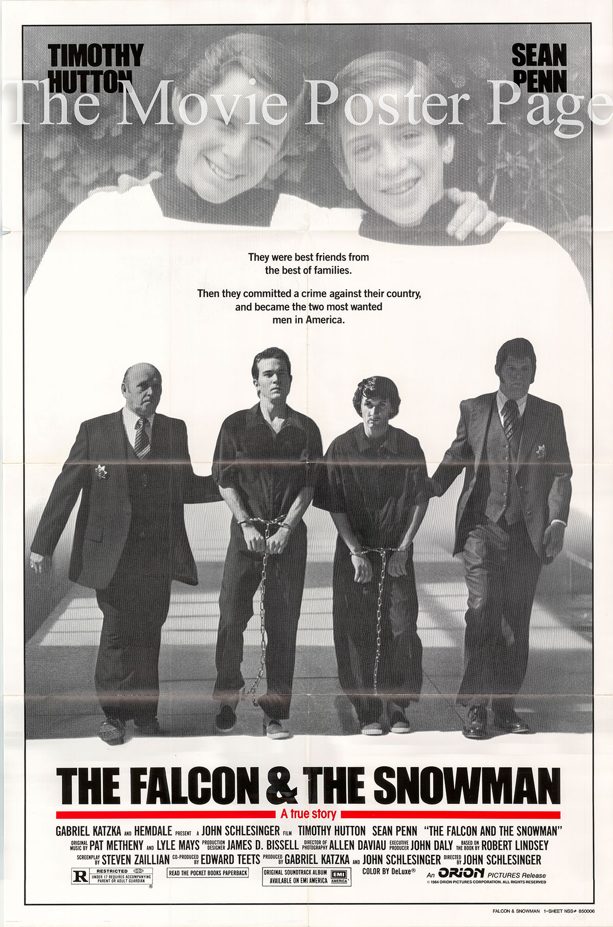 Pictured is a US one-sheet promotional poster for the 1984 John Schlesinger film The Falcon and the Snowman starring Sean Penn.