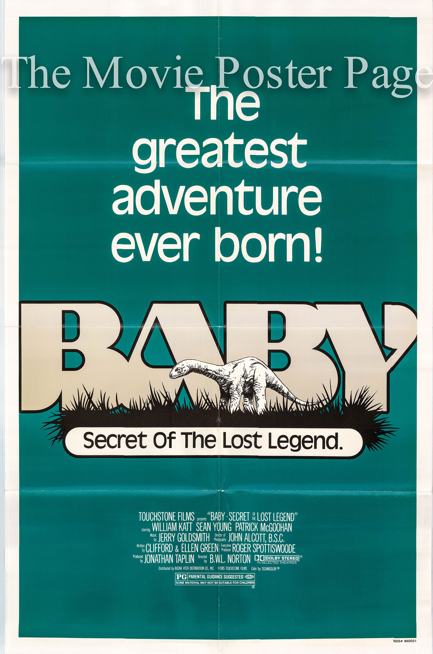 Pictured is a US one-sheet poster for the 1985 Blll L. Norton film Baby: Secret of the Lost Legend.