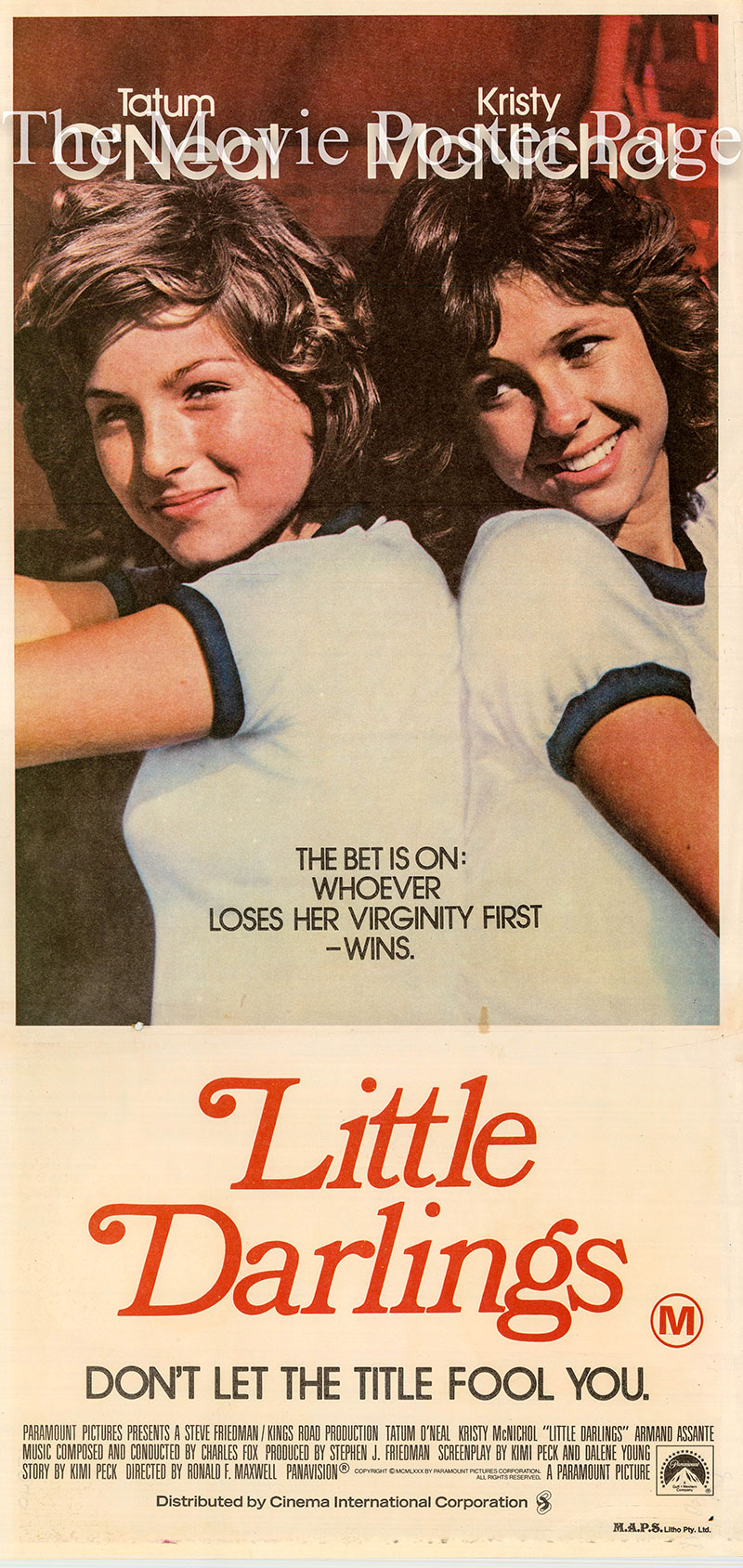 Pictured is an Australian daybill poster for the 1980 Ronald F. Maxwell film Little Darlings starring Tatum O'Neal.