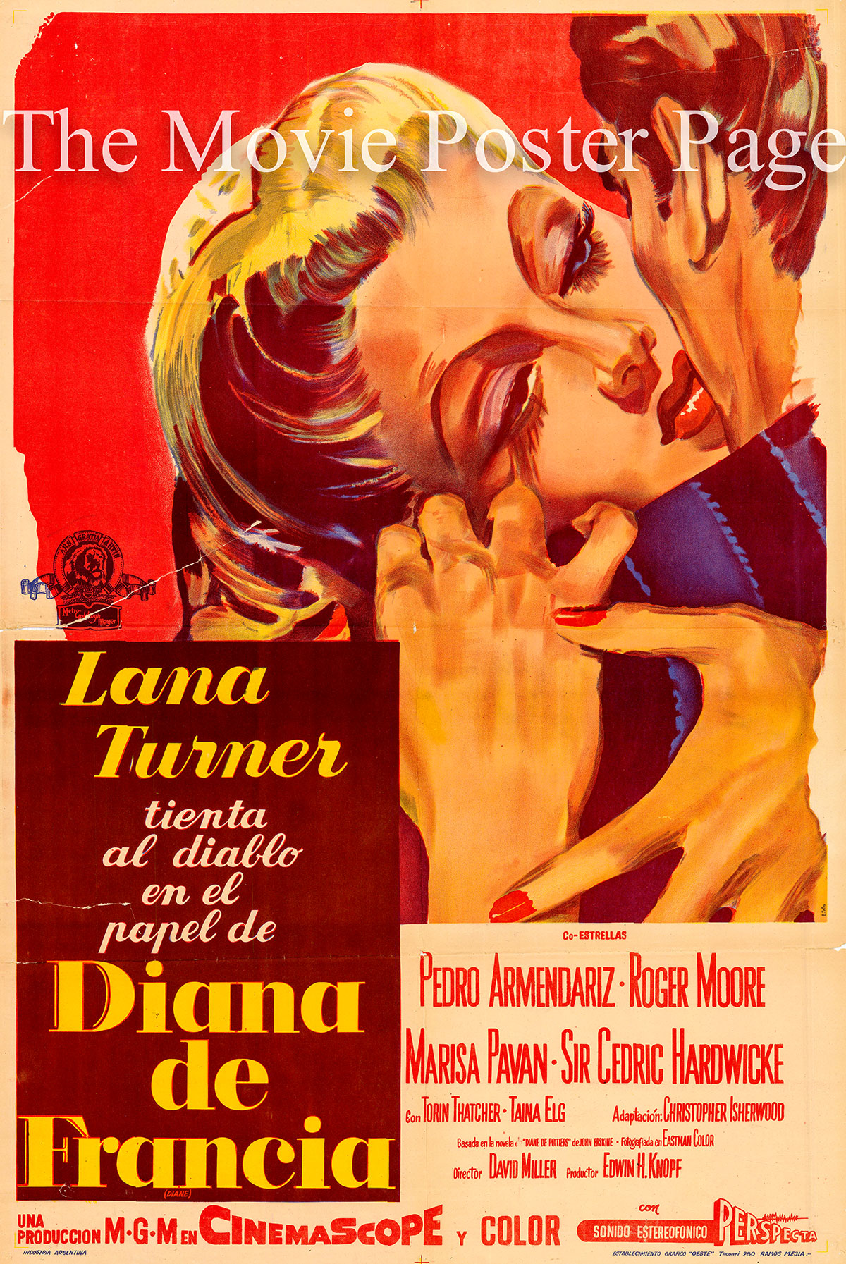 Pictured is an Argentine promotional poster for the 1956 David Miller film Diane starring Lana Turner as Diane de Poitiers.