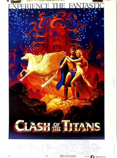 Pictured is a US 30x40 promotional poster for the 1981 Desmond Davis film Clash of the Titans starring Harry Hamlin as Perseus and Judi Bowker as Andromeda.