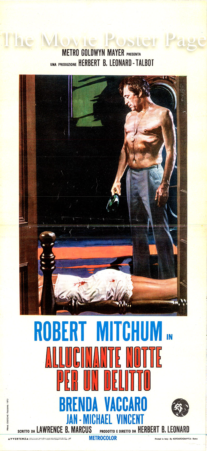 Pictured is an Italian locandina poster for the 1971 Herbert B. Leonard film Going Home starring Robert Mitchum as Harry K. Graham.