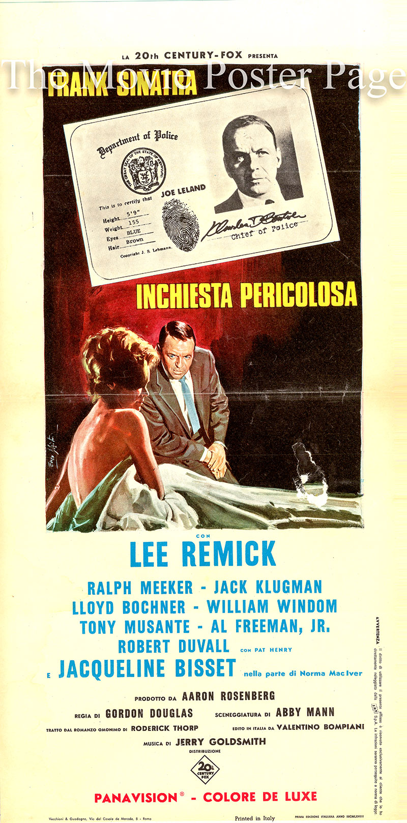pictured is an Italian locandina poster for the 1968 Gordon Douglas film <i>The Detective</i> starring Frank Sinatra as Joe Leland.