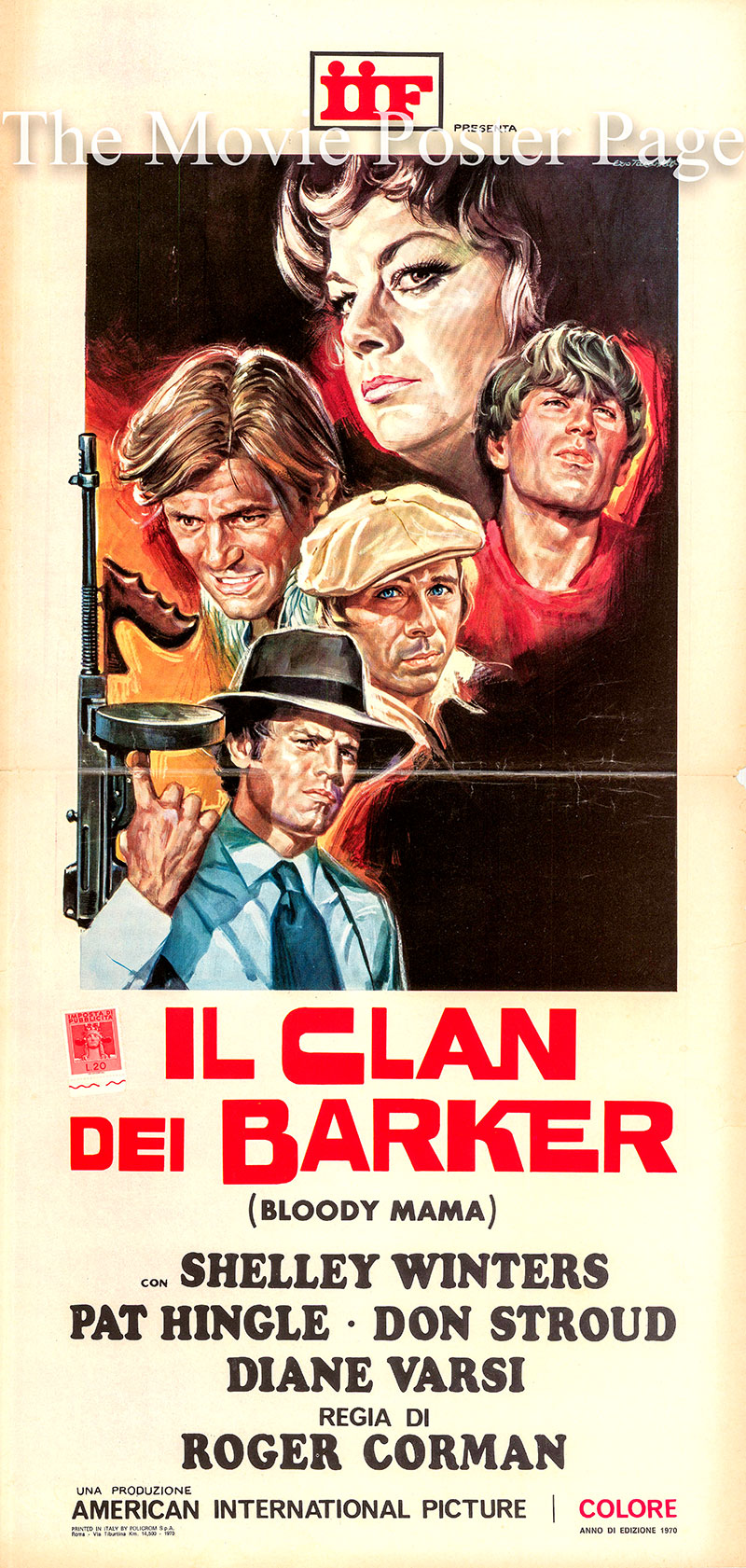 Pictured is an Italian locandina promotional poster for the 1970 Roger Corman film <i>Bloody Mama</i> starring Shelley Winters as Kate Barker.