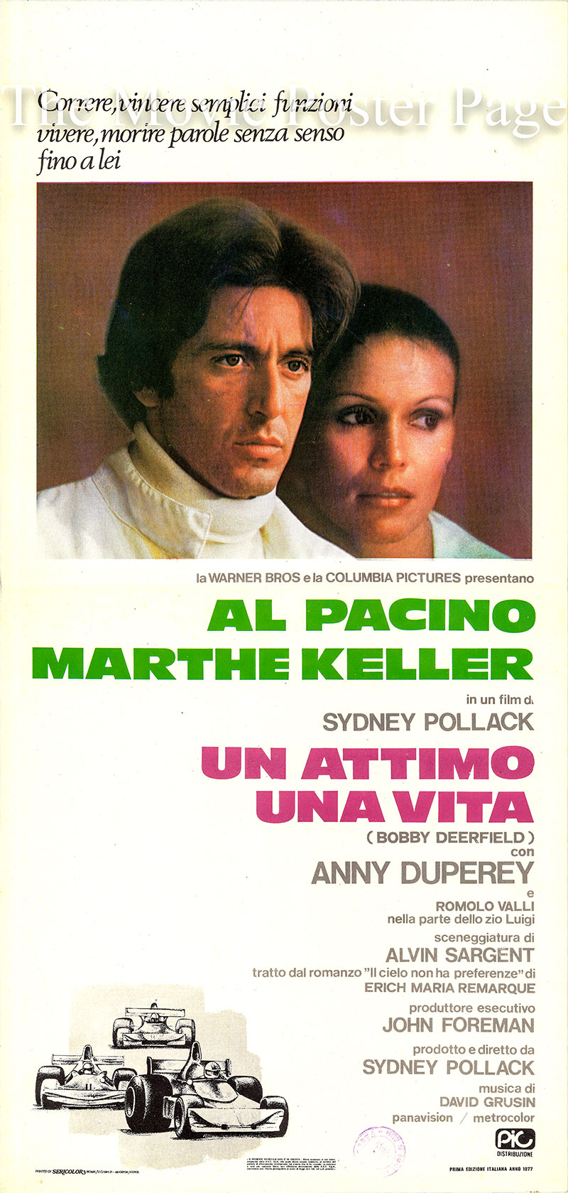 Pictured is an Italian locandina promotional poster for the 1977 Sydney Pollack film Bobby Deerfield starring Al Pacino as Bobby Deerfield.