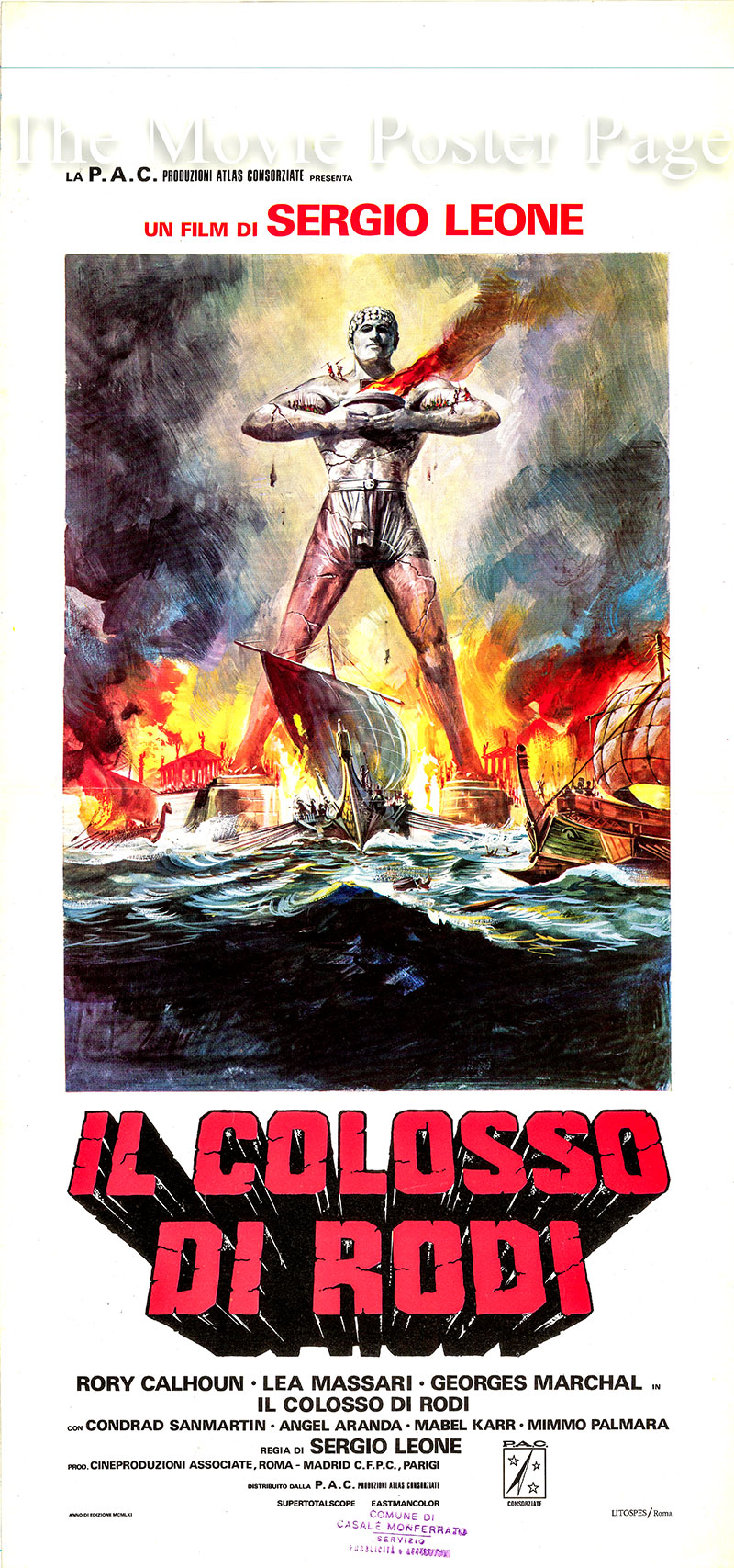 Pictured is an Italian locandina poster for the 1961 Sergio Leone film The Colossus of Rhodes starring Rory Calhoun as Dario.