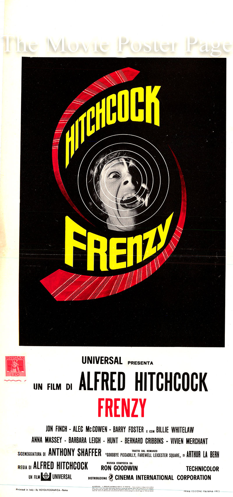Pictured is an Italian locandina poster for the 1972 Alfred Hitchcock film <i>Frenzy</i> based on the novel of the same title by Alfred La Bern and starring Jon Finch as Richard Blaney.