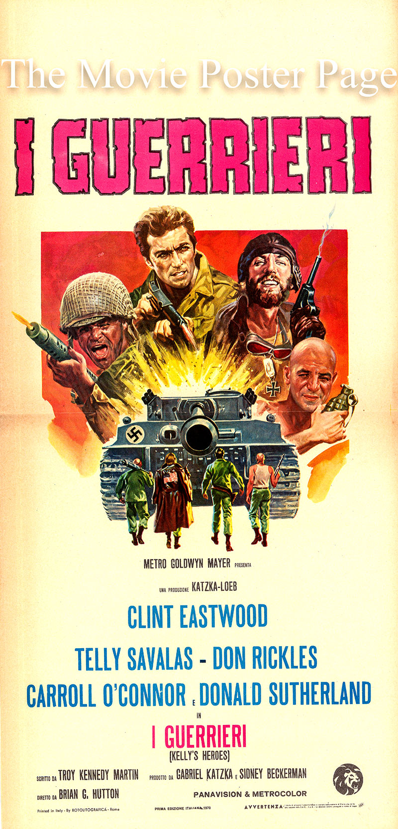Pictured is an Italian locandina poster for the 1970 Brian G. Hutton film Kelly's Heroes starring Clint Eastwood as Kelly.