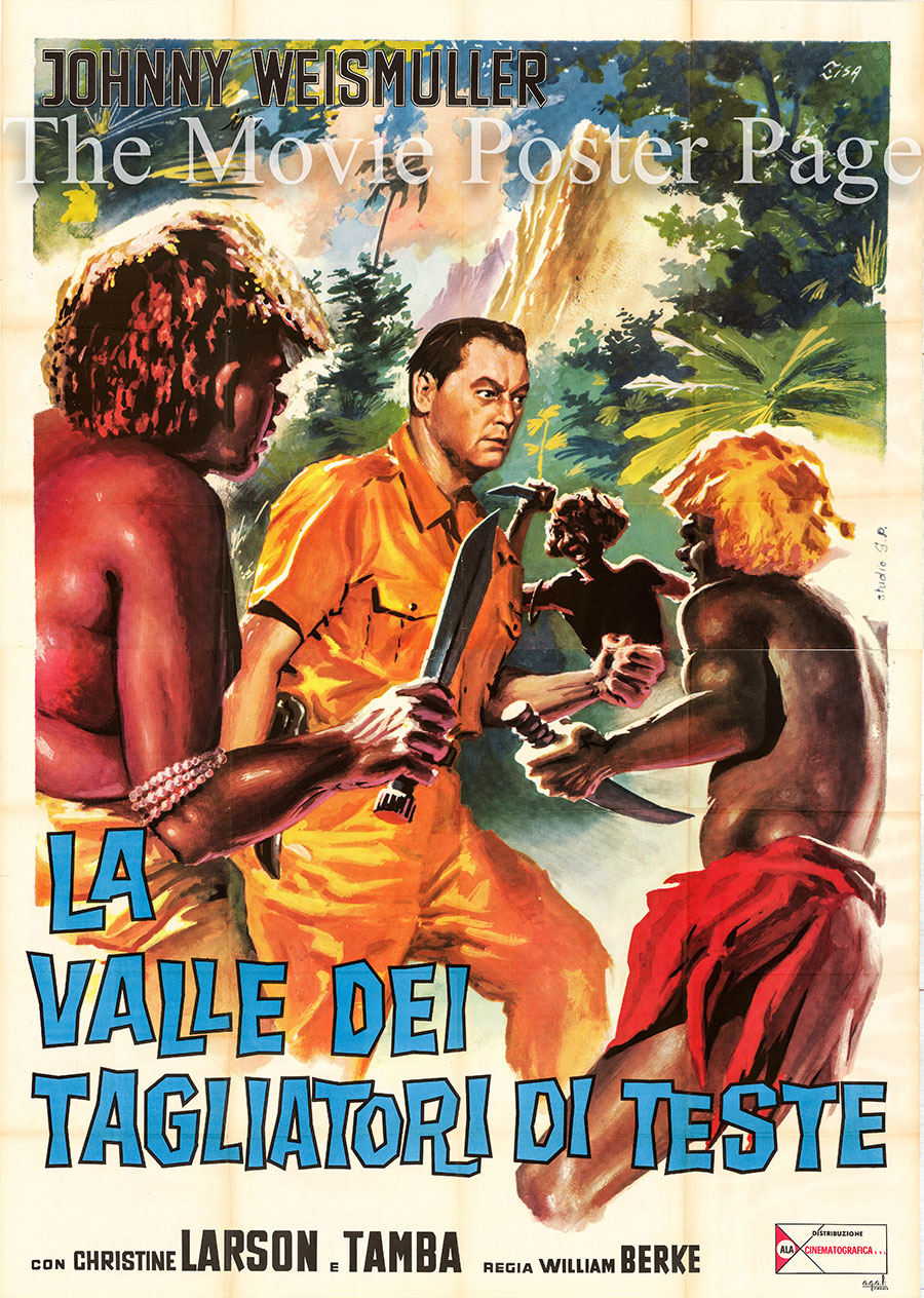 Pictured is an Italian four-sheet poster for the 1953 William Berke film Valley of Headhunters starring Johnny Weissmuller as Jungle Jim.
