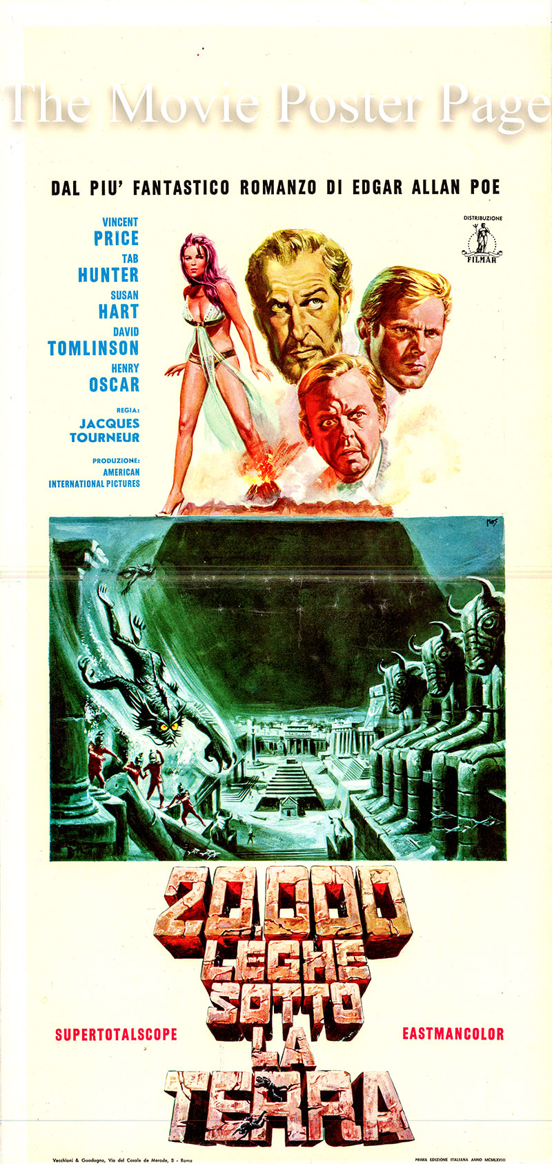 Pictured is an Italian locandina poster for a 1968 rerelease of the 1965 Jacques Tourneur film War Gods of the Deep starring Vincent Price as the Captain, Sir Hugh.