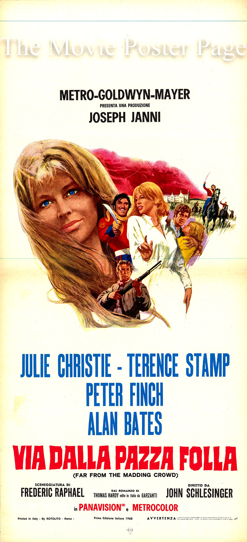 Pictured is an Italian locandina poster for the 1967 John Schlesinger film <i>Far from the Madding Crowd</i> based on the 1874 Thomas Hardy novel of the same title, screenplay by Fredrick Raphael and starring Julie Christie as Bathsheba Everdene.