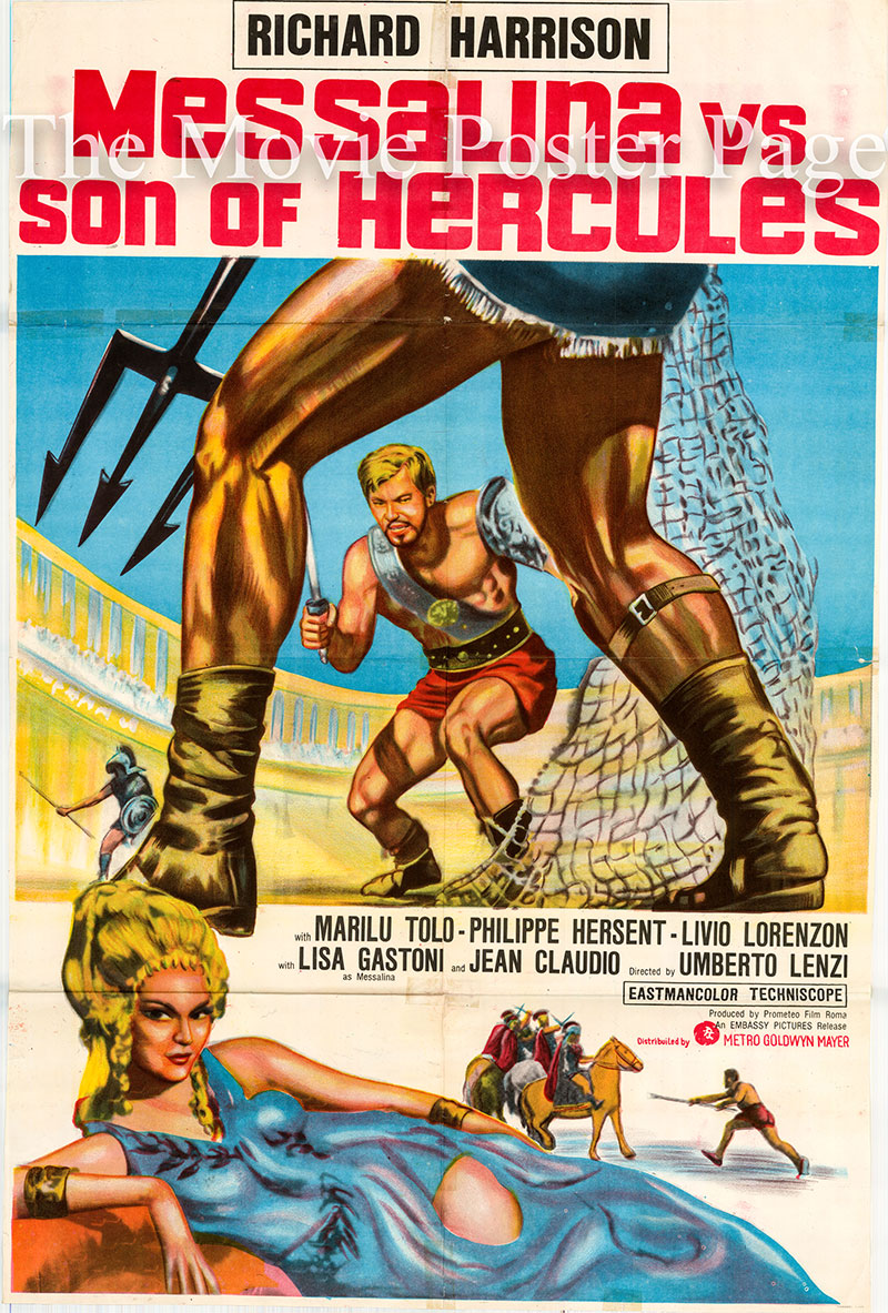 Pictured is a UK one-sheet poster for the 1964 Umberto Lenzi film Messalina vs. the Son of Hercules starring Richard Harrison as Glaucus.