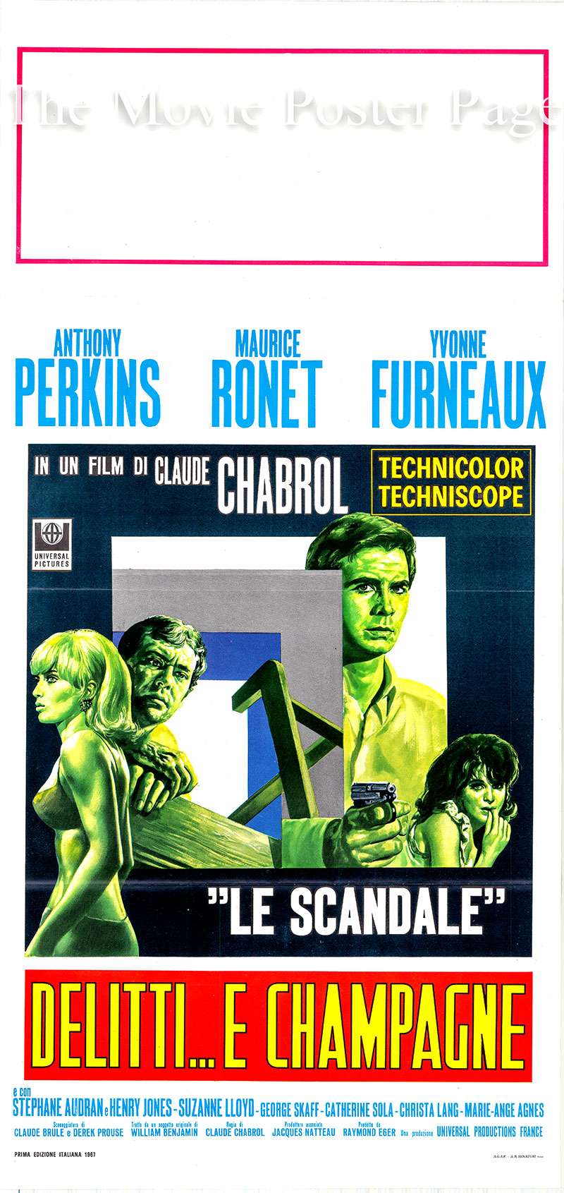 Pictured is an Italian locandina for the 1967 Claude Chabrol film Le Scandale starring Anthony Perkins as Christoper.