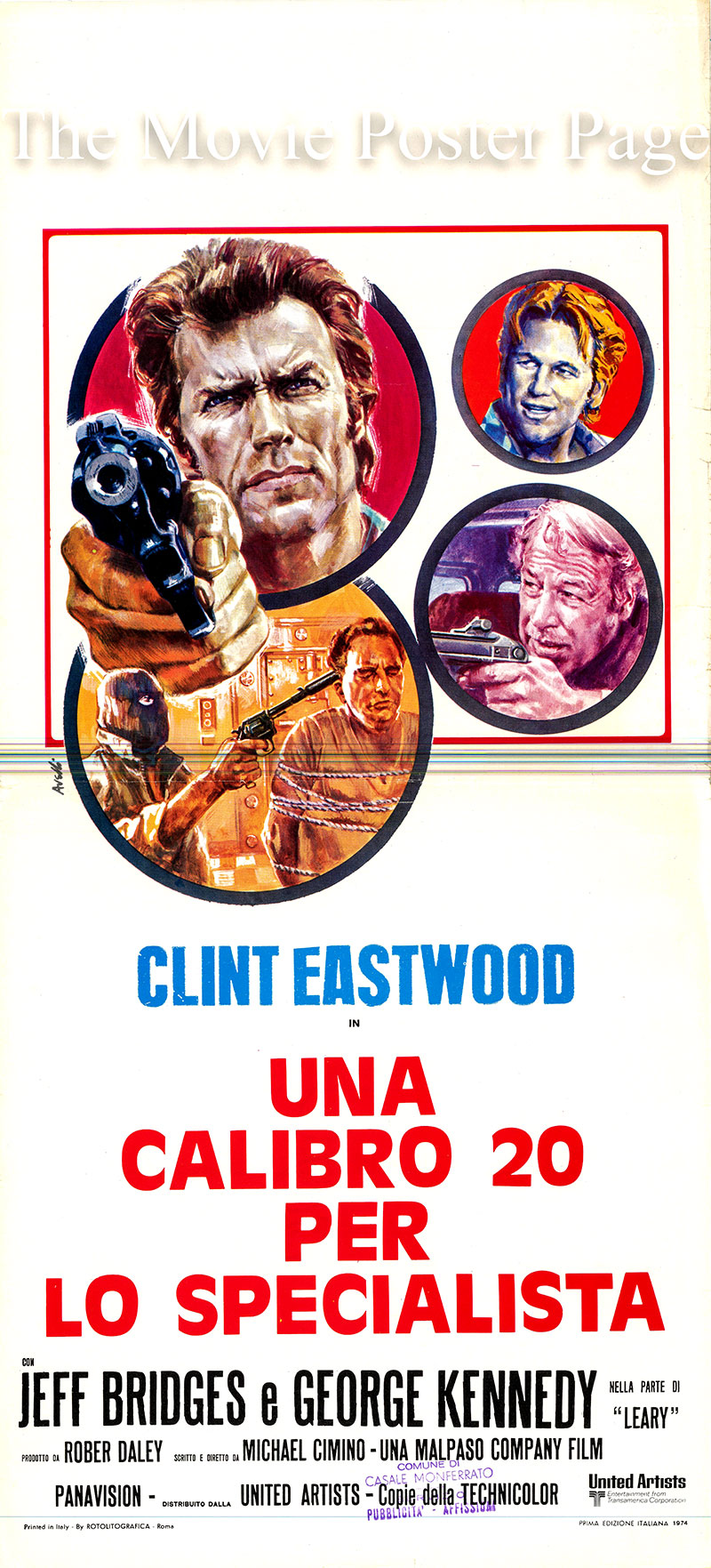 Pictured is an Italian locandina poster for the 1974 Michael Cimino film Thunderbolt and Lightfoot starring Clint Eastwood as Thunderbolt.
